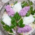 Салат к 8 марта, украшенный сиренью